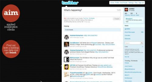 Applied Imagination Media's branded Twitter home page