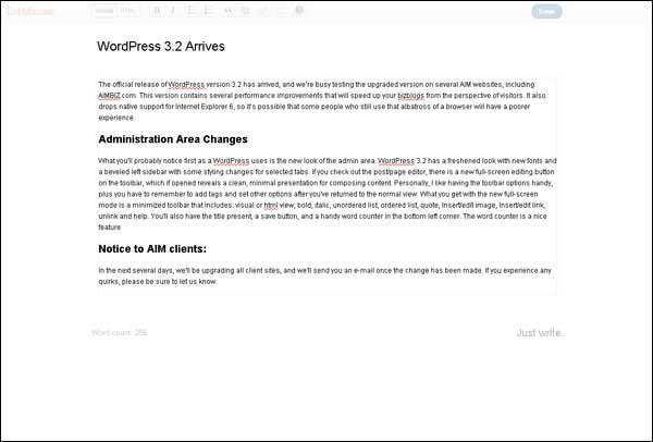 AIMBIZ.com shows off the new full-screen editor for WordPress 3.2