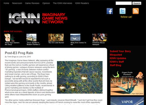 Link to IGNN, The Imaginary Game News Network