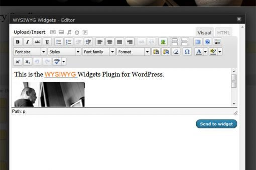 The editing screen of the WYSIWYG Widgets WordPress plugin is explained by AIMBIZ.com