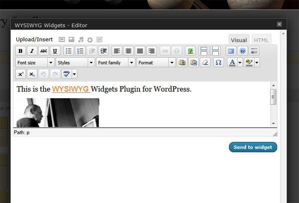 The editing screen of the WYSIWYG Widgets WordPress plugin is explained by AIMBIZ.com