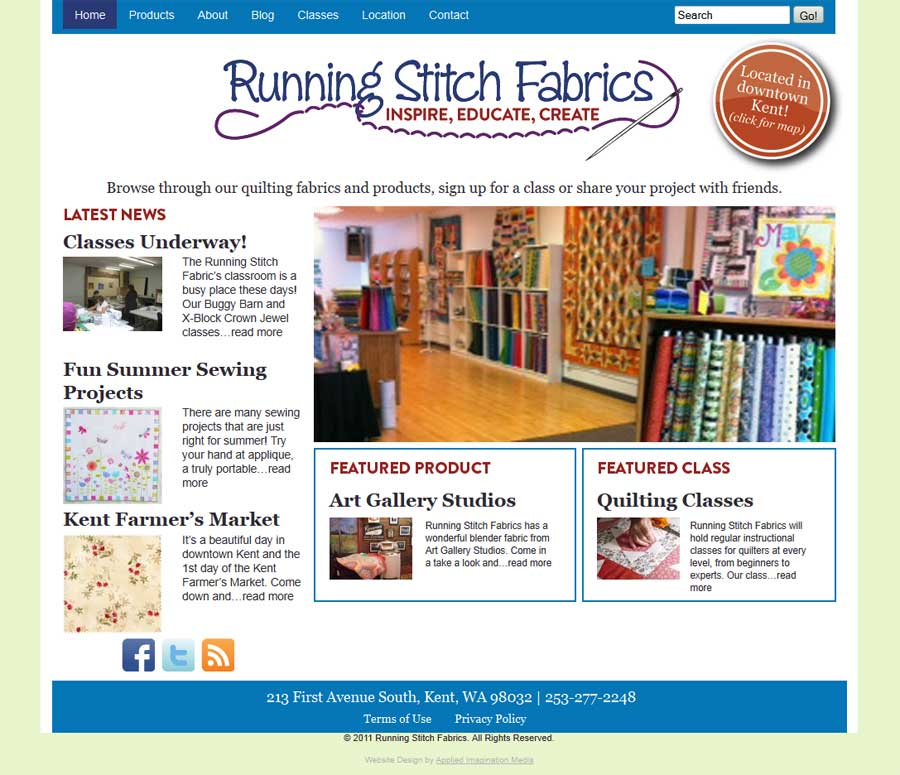Running Stitch home page; web design by Applied Imagination Media