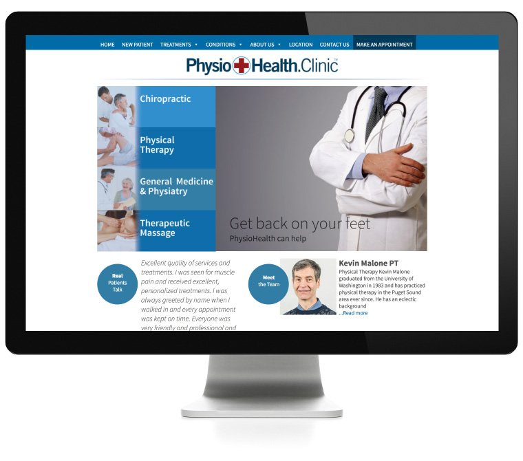PhysioHealth home page, website, logo, graphic design created by AIM