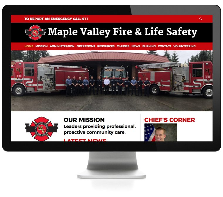 Maple Valley Fire & Life Safety website developed by AIM