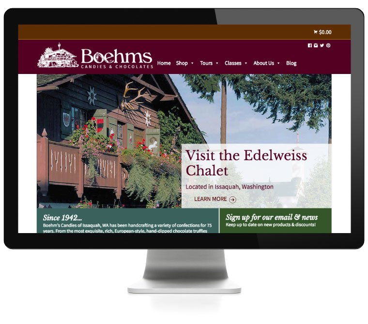 Boehms Candies website, developed by AIM