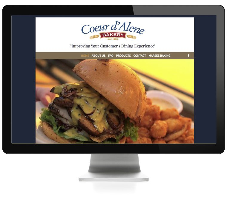 Couer d'Alene Bakery website, developed by AIM