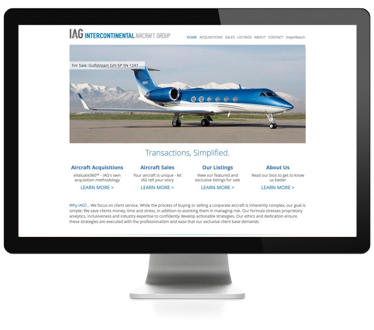 IAG Jets web design by AIM