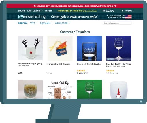National Etching website by Seattle website developer AIM