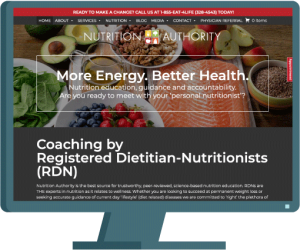 Nutrition Authority home page, website development case study by AIM