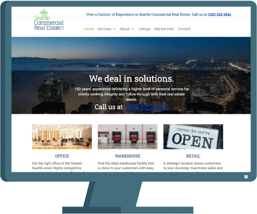 Seattle Commercial Real Estate home page, web design case study by AIM
