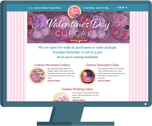 Sweet Themes Bakery in Kent, Washington, home page, web design case study by AIM