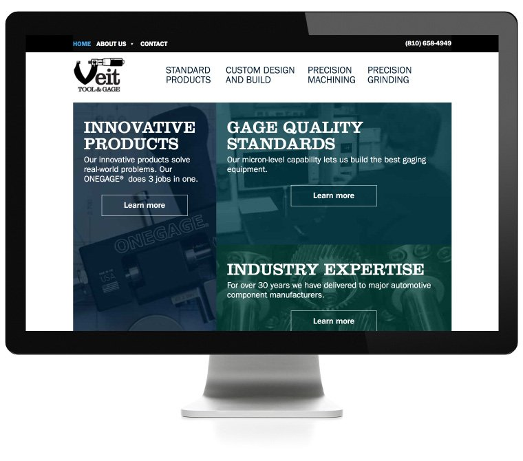 Veit Tool & Gage website development by AIM