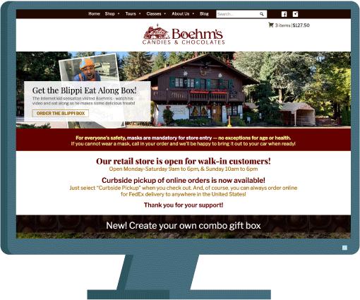 Boehm's Candies e-commerce website development case study with AIM