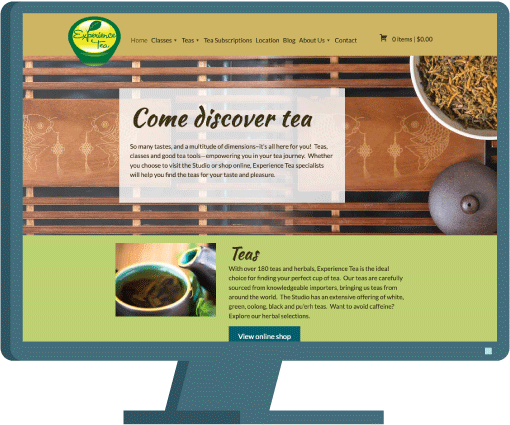 Experience Tea website, web design by Seattle website developer AIM